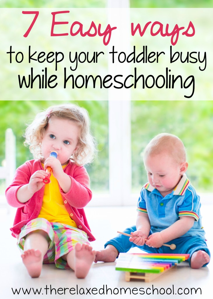 Wish I had found this sooner! Great tips on keeping toddlers busy while you homeschool older kids. PIN FOR LATER!
