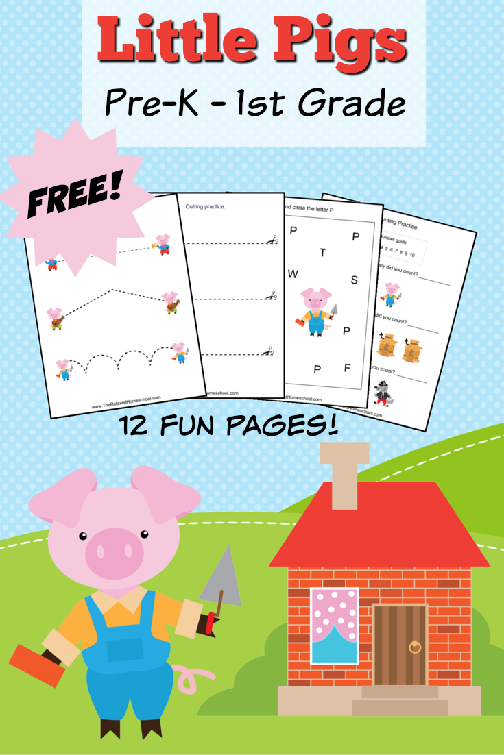 FREE Three Little Pigs theme pack! A great way to bring the story into your learning activities! 12 FREE printable worksheets!