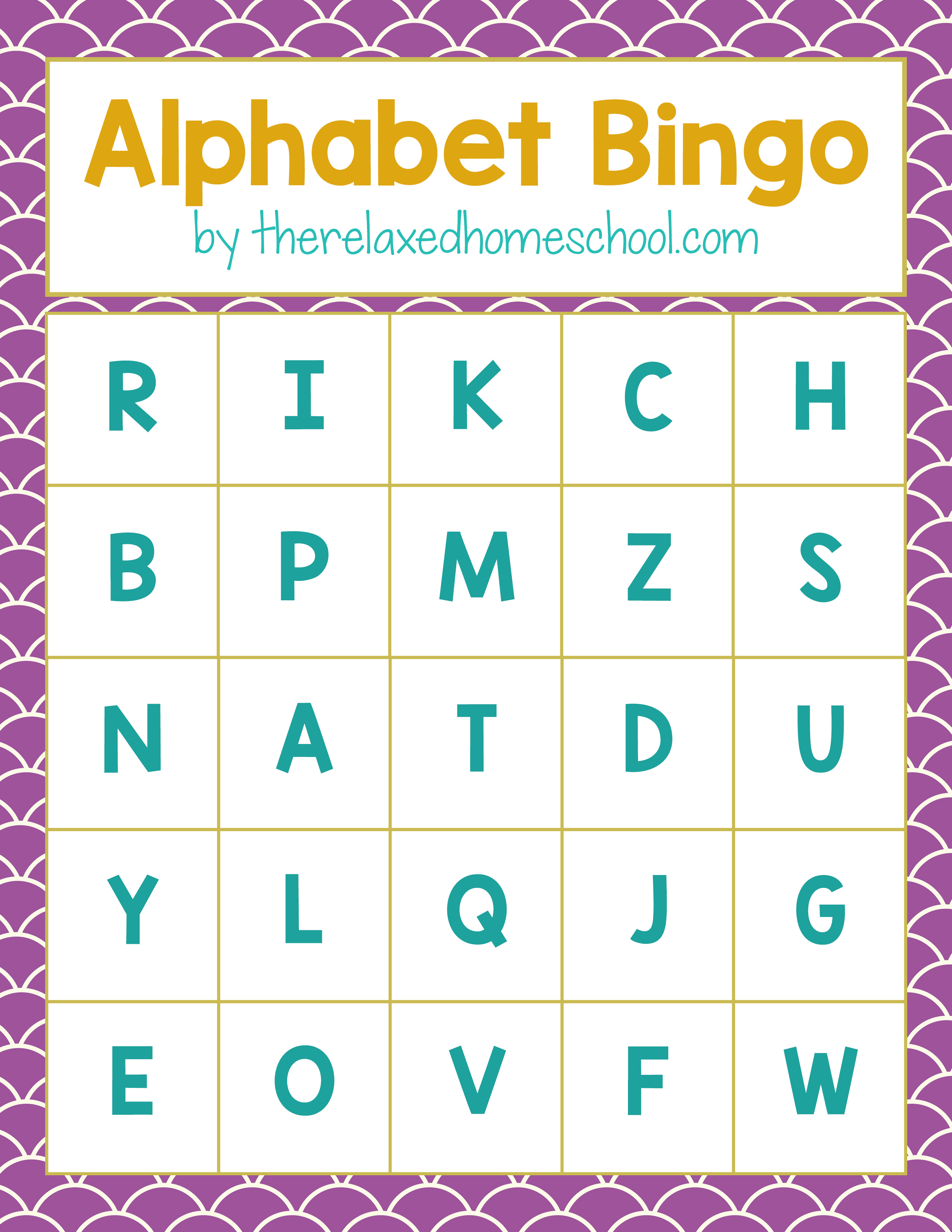Free Printable! Alphabet Letters Bingo Game - Download here!