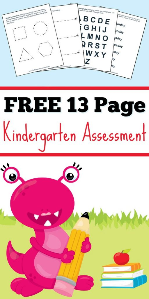 Free Kindergarten Assessment printable check list to find any learning gaps. This is great for testing Kindergarten placement and readiness.