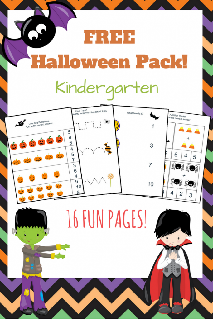 Free Halloween workbook! Great for Kindergarten. Practice math skills, tracing practice, patterns, and more!