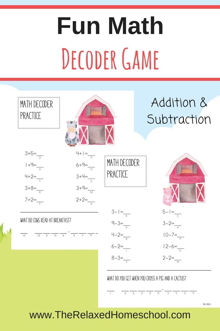 Fun Math Games FREEBIE! - The Relaxed Homeschool