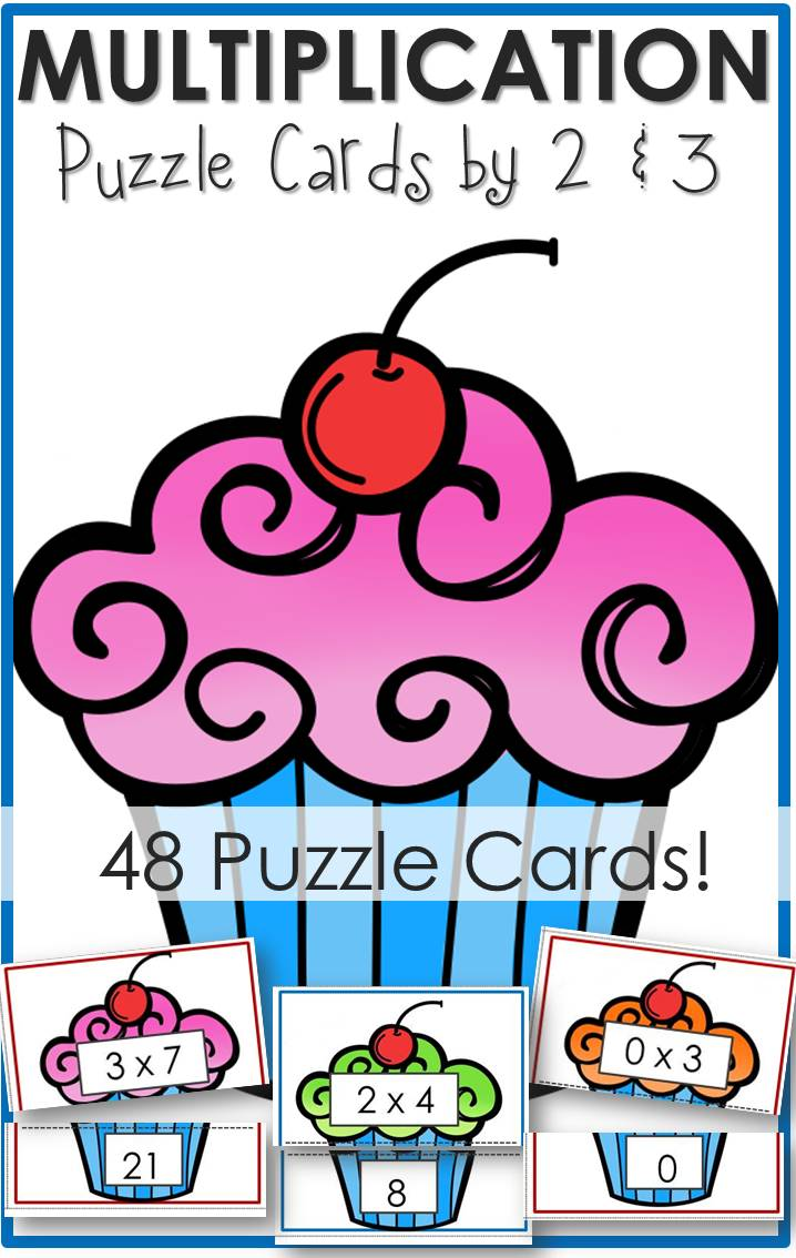 Multipcation Puzzle Cards 2s and 3s Cupcake Puzzles