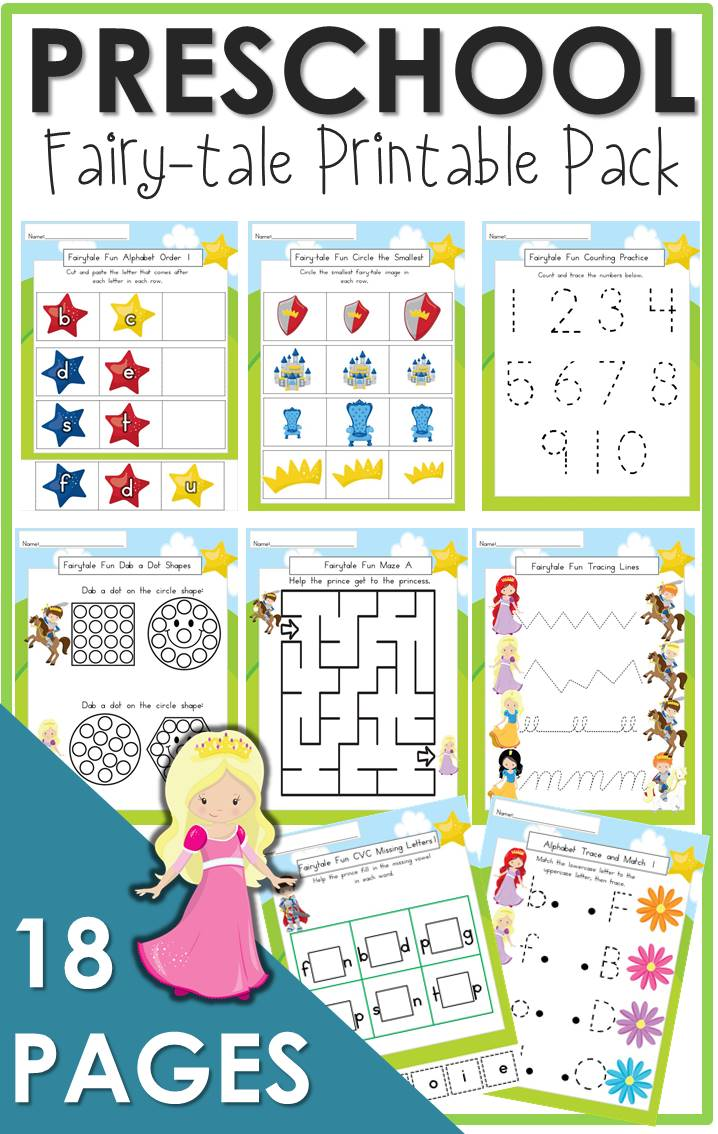 preschool fairy tale printable pack the relaxed homeschool. Black Bedroom Furniture Sets. Home Design Ideas