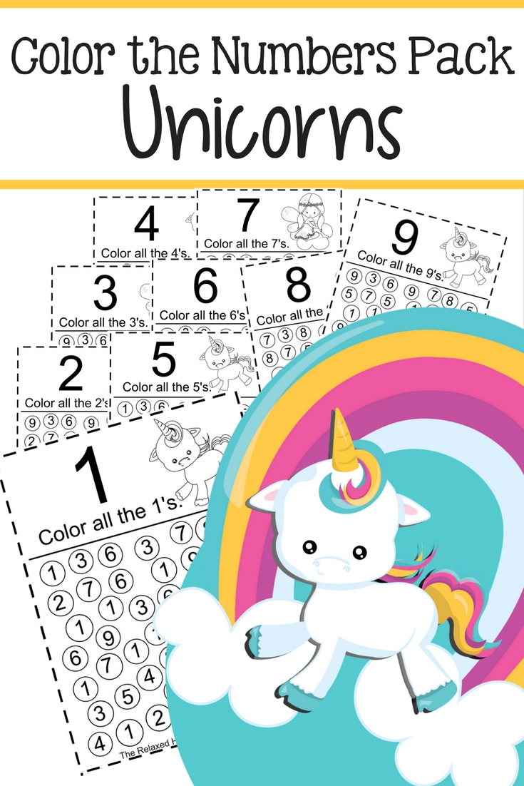 Printable Unicorn Color the Numbers Pack - The Relaxed Homeschool