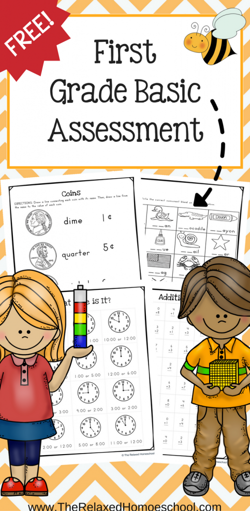FREE First Grade Assessment Printable Pack: Great printable for first graders to fill in any gaps and see where your students are.