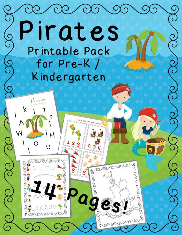 FREE Pirate Printable pack! Math games, counting games, and pirate color sheets. Perfect for preschool and Kindergarten. Practice alphabet recognition, counting, and pre-handwriting skills!