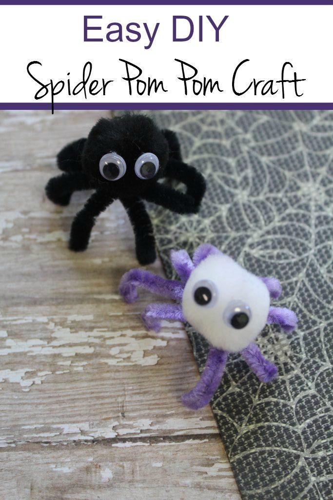 Easy spider pom pom craft for kids. Halloween crafts