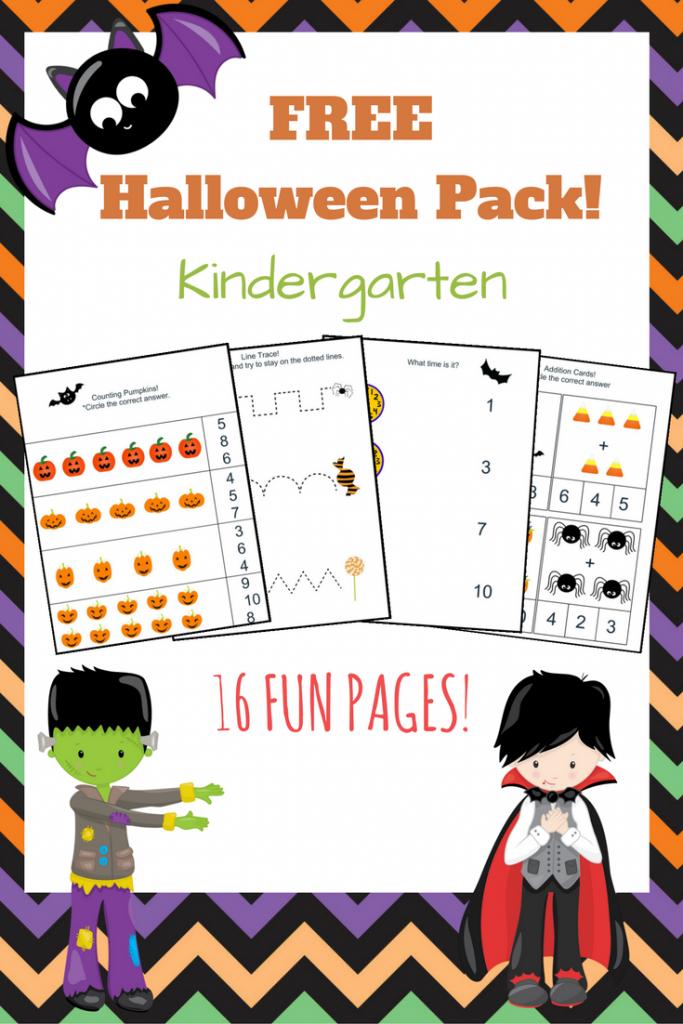Free Halloween workbook! Great for Kindergarten. Practice math skills, tracing practice, patterns, and more!