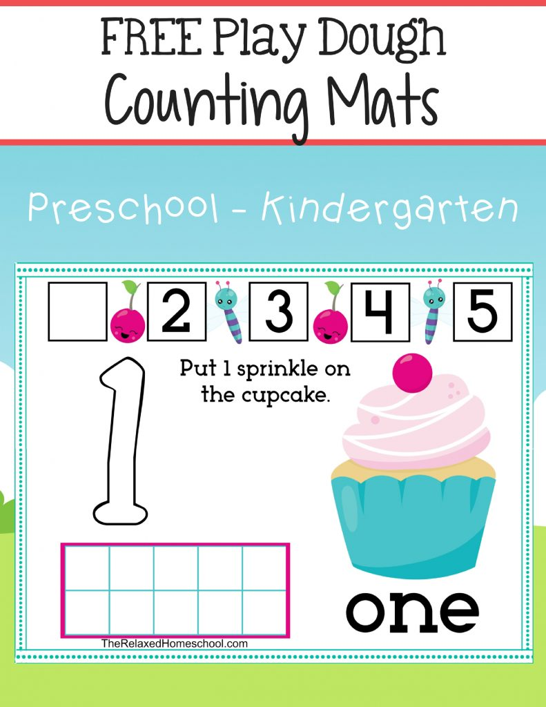 FREE Play Dough Counting Mats