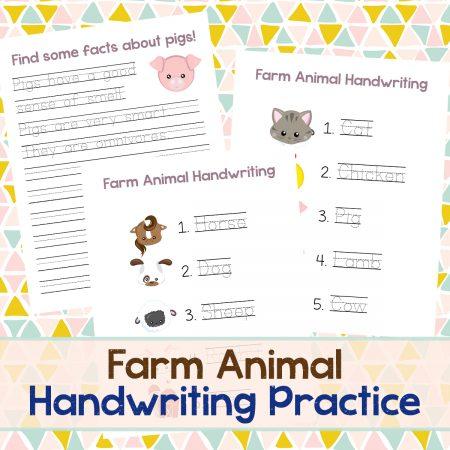 Farm Animal Handwriting square