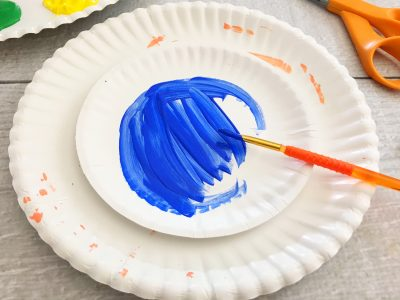 paper plate fractions craft painted