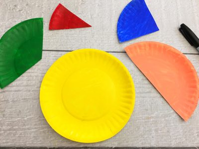 paper plate fractions craft thirds