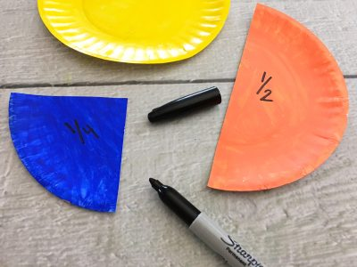 paper plate fractions craft one quarter