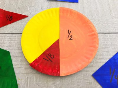 paper plate fractions craft one eigth