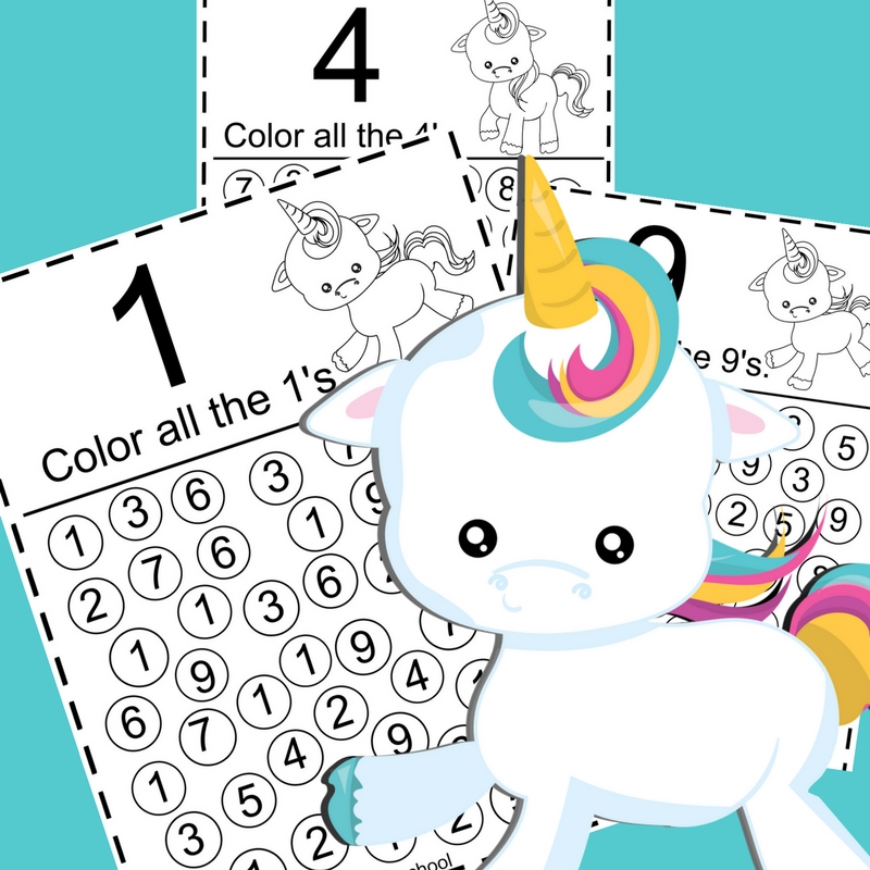 Printable Unicorn Color the Numbers Pack - The Relaxed ...