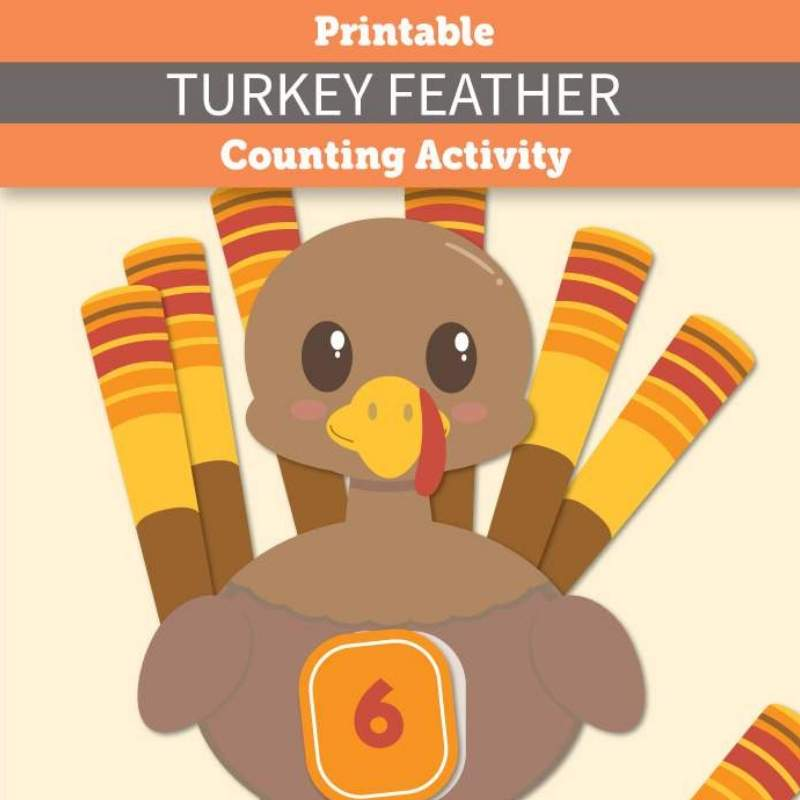 photo regarding Turkey Feather Printable called Printable Turkey Feather Counting Video game - The At ease