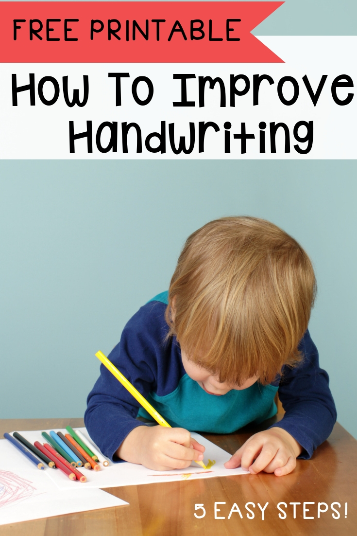 5 Easy stops on how to improve handwriting for kids! No-Fuss, No-Stress methods PLUS a free handwriting worksheets to help them practice even more!