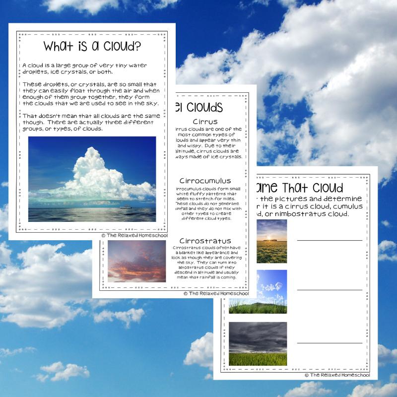 photo regarding Types of Clouds Worksheet Printable named Models Of Clouds Worksheets Printable - The Snug Homeschool
